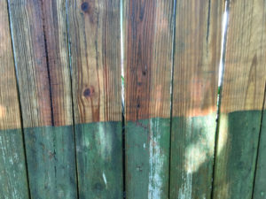 Before and after pressure washing fencing.